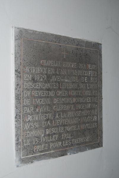 Kapel o.a. opgedragen aan Lt Edmond Desclée, jachtpiloot WOI, 5de, werd 10de Smd