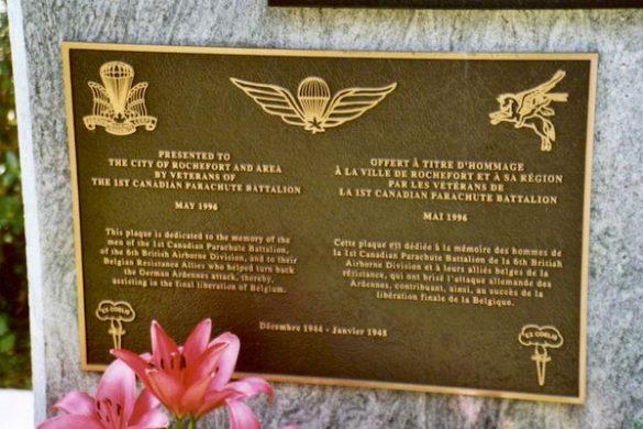 Gedenkplaat 1st Canadian Parachute Battalion
