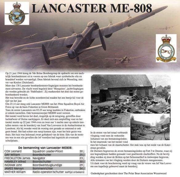 Herinneringsbord voor de bemanning van Lancaster ME808