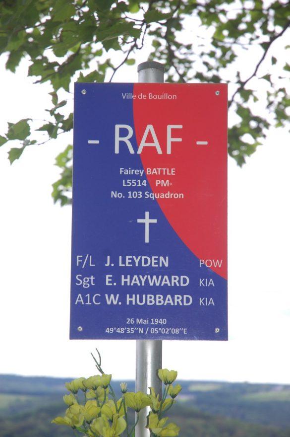 Gedenkplaat voor bemanning Fairey Battle L5514 PM-, Botassart