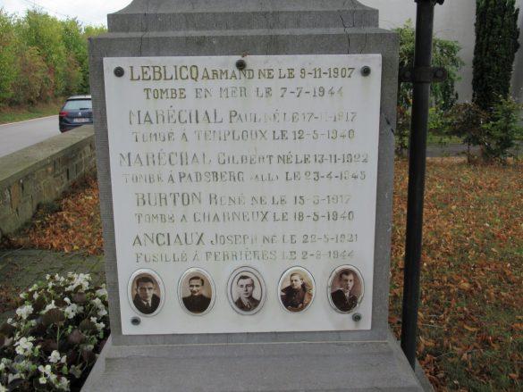 Vermelding Armand Leblicq op monument gesneuvelden